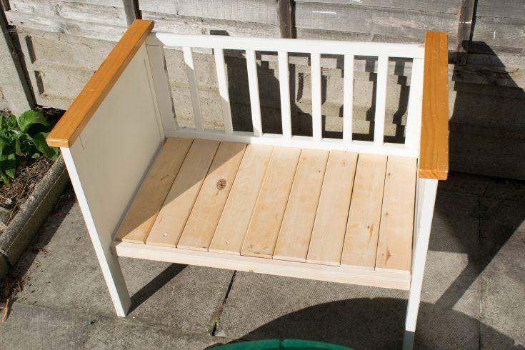 repurposed crib:cot into a bench 14