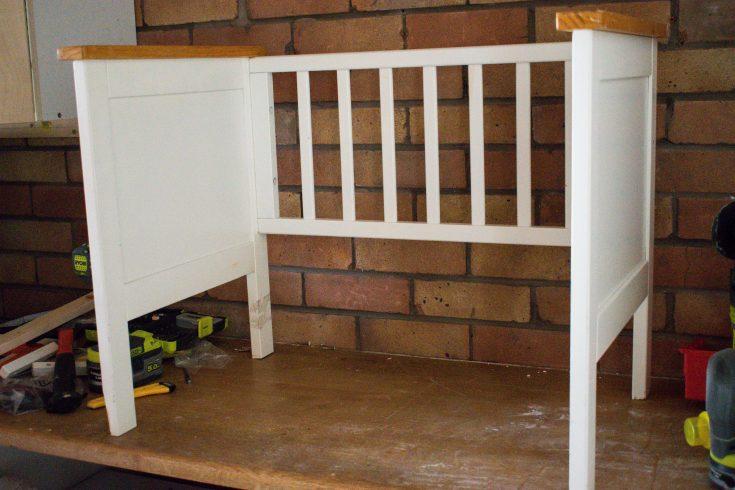 repurposed crib:cot into a bench 9
