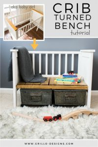 Farmhouse style bench made from a repurposed crib / grillo designs