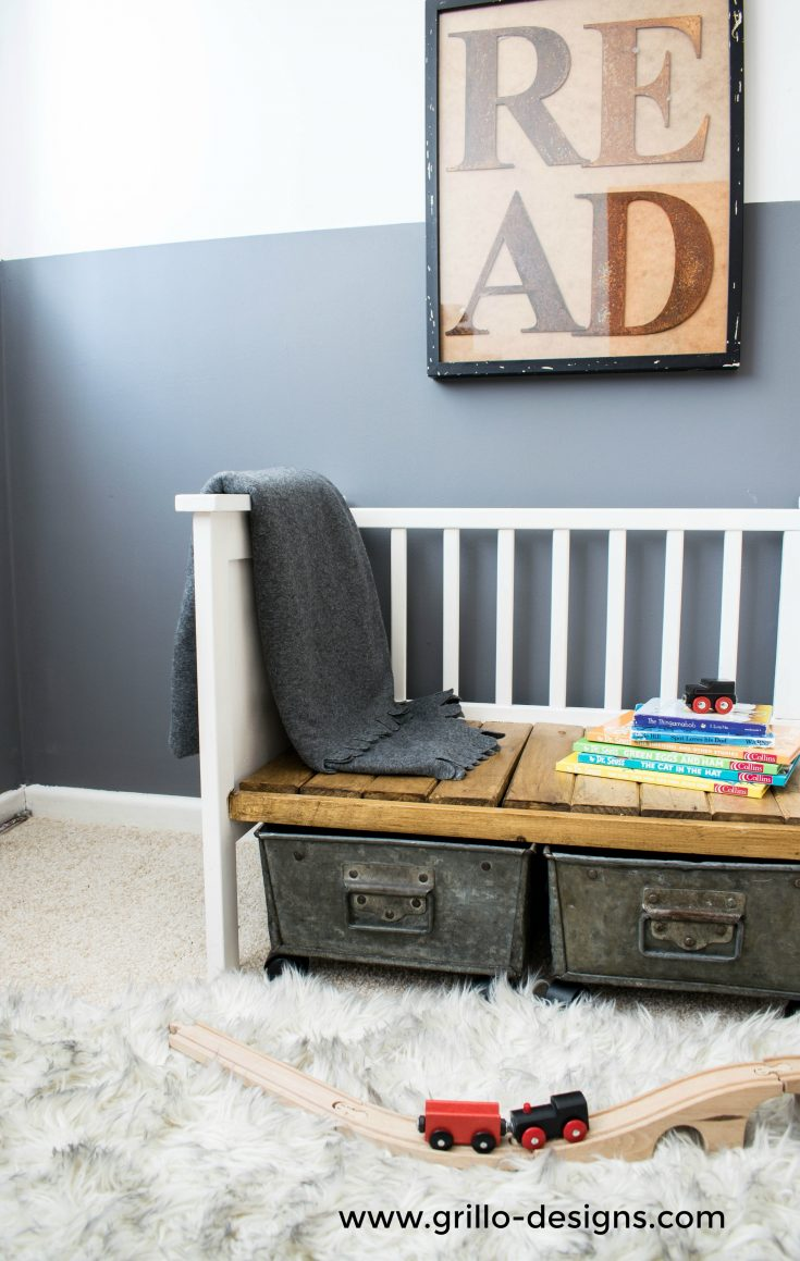 repurposed crib:cot to bench 33