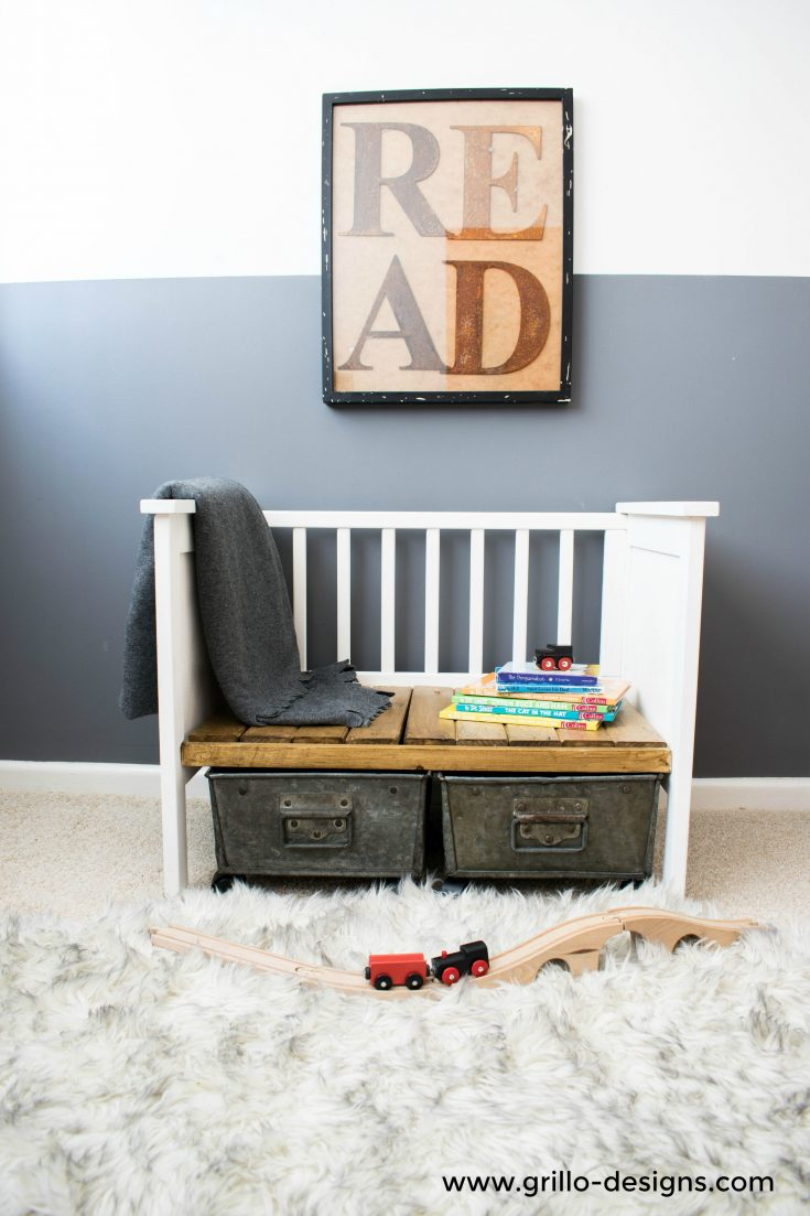 repurposed crib:cot to bench 45