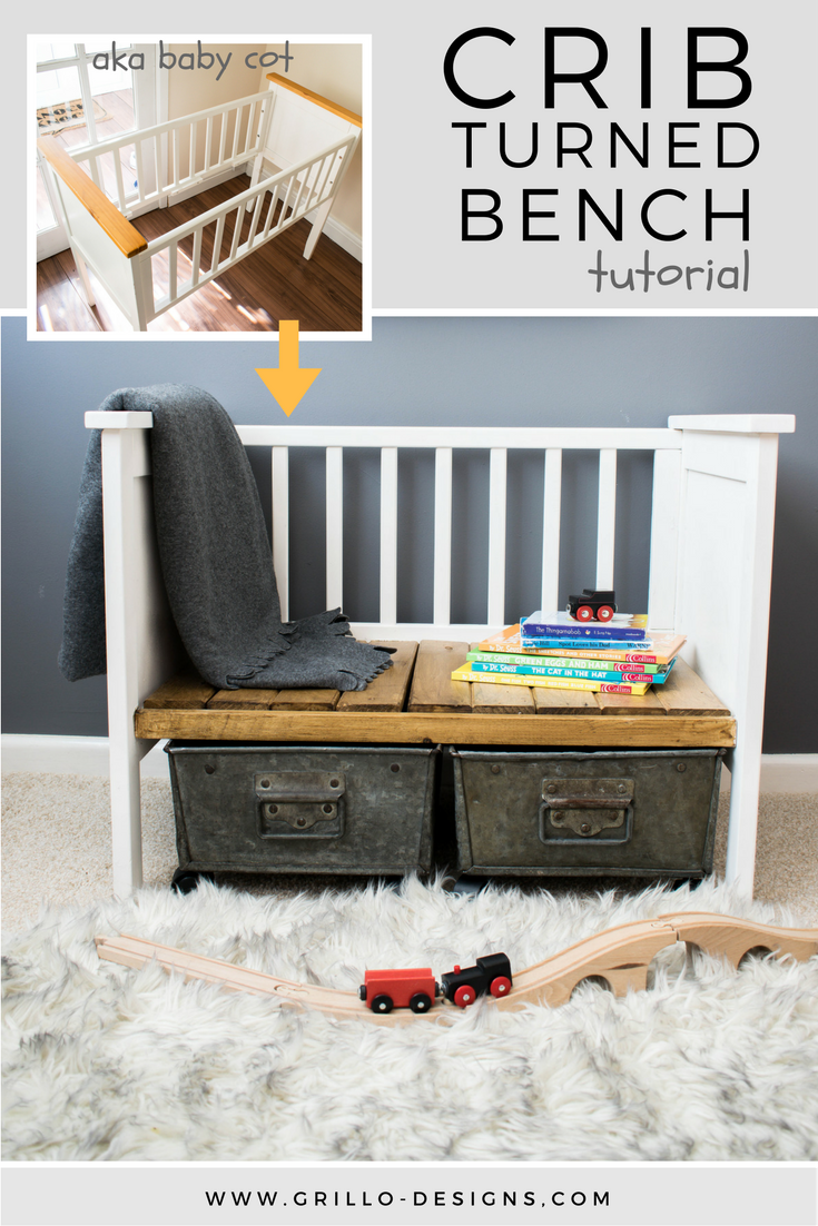 There are so many repurposed crib ideas on pinterest. Find out how to upcycle an old crib into a bench your kids will love.