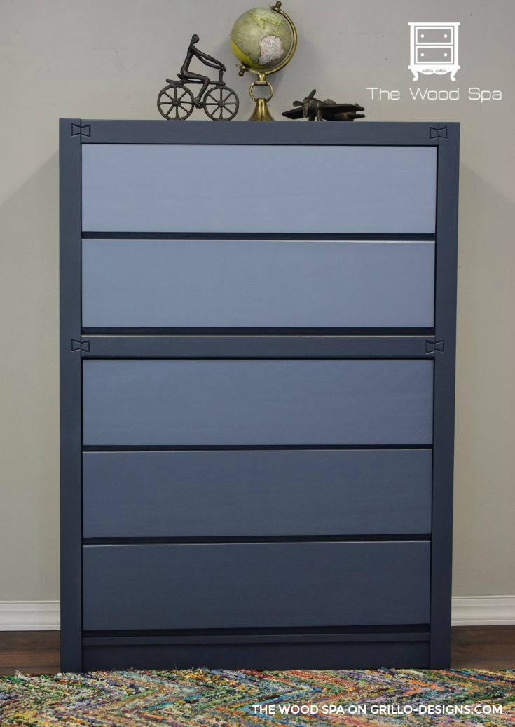 completed blue ombre dresser tutorial / Grillo Designs Blog www.grillo-designs.com