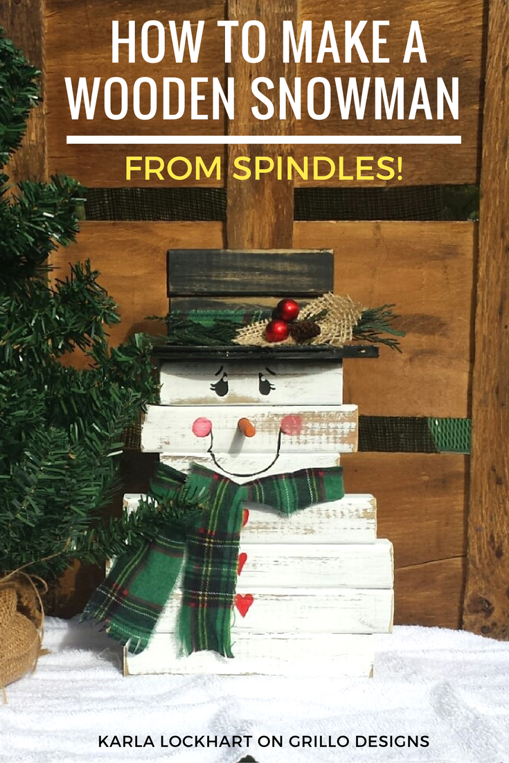 Make a super cute diy wooden snowman using leftover spindles / Grillo Designs Blog www.grillo-designs.com