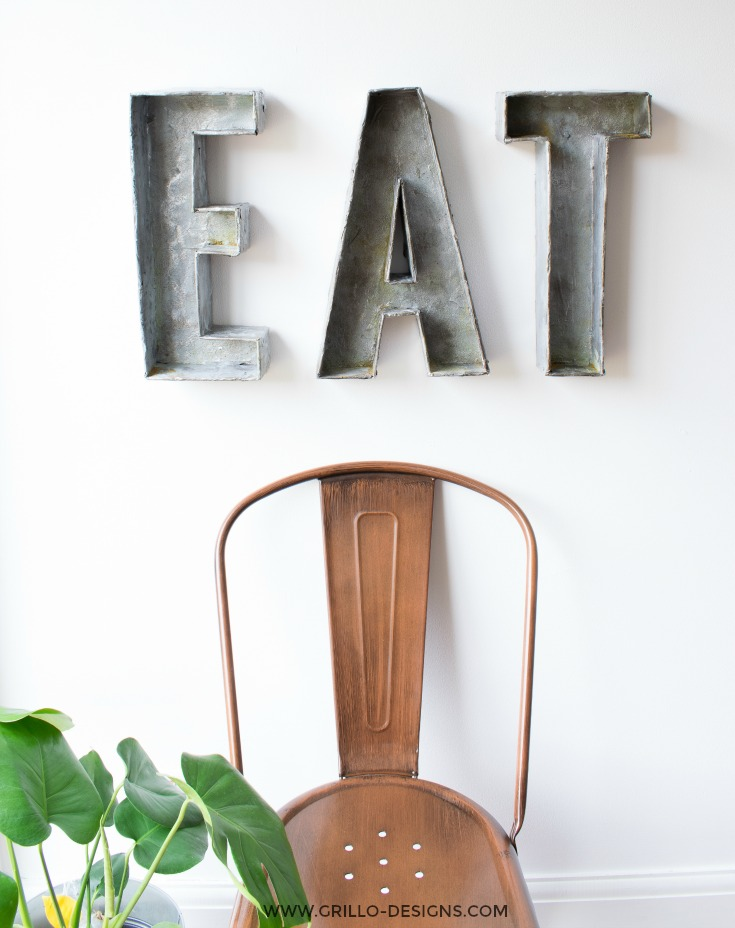 3D FAUX METAL LETTERS FOR AN INDUSTRIAL STYLE DINING ROOM / WWW.GRILLO-DESIGNS.COM