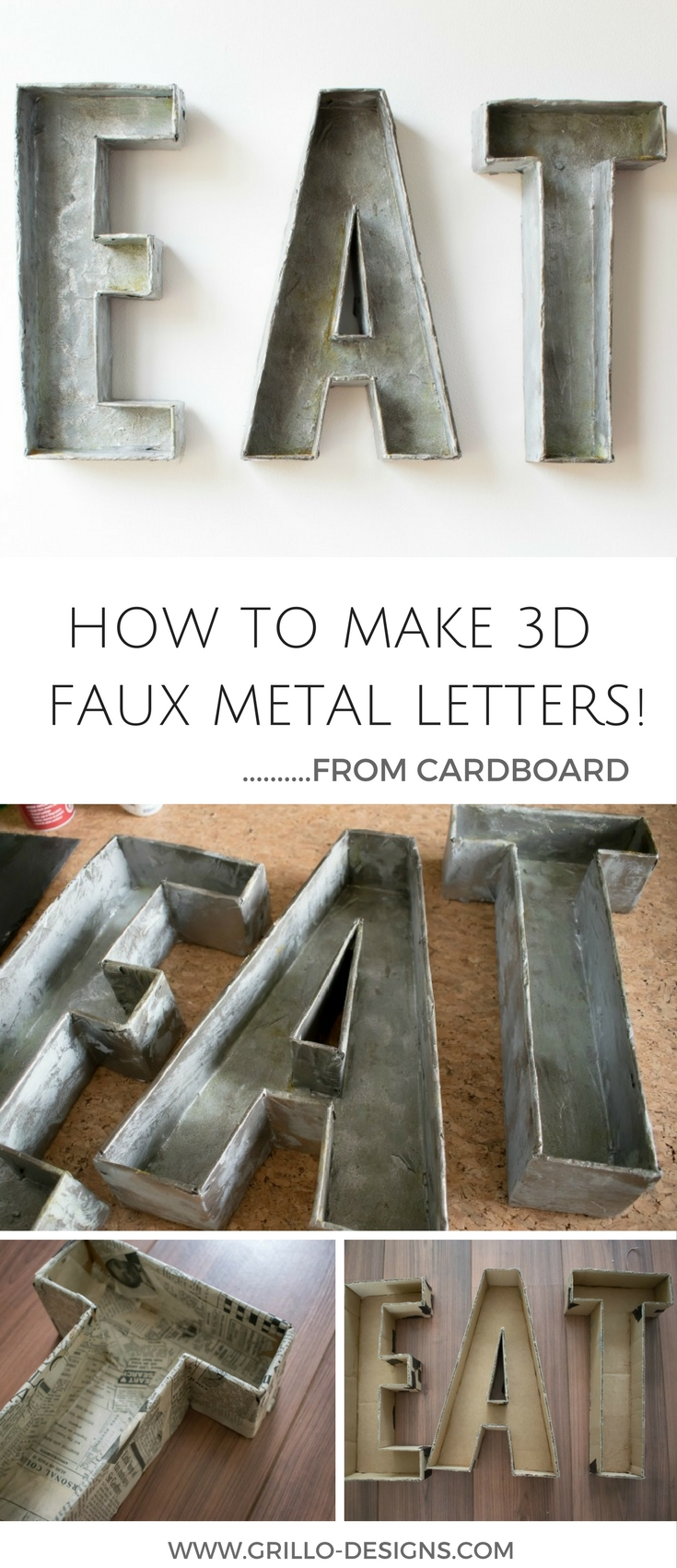 Large Hollow Metal Letters 3D Faux Metal Letters Tutorial  From Cardboard