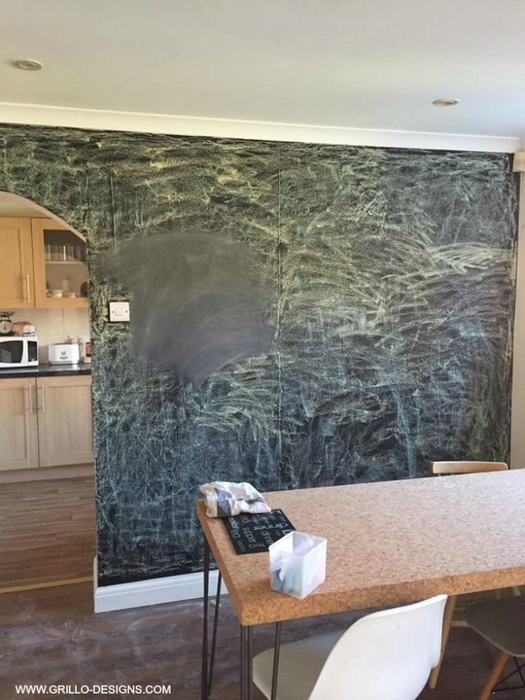 seasoning a chalkboard wall / grillo designs www.grillo-designs.com
