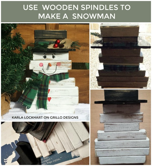 Use wooden spindles to make an easy diy wooden snowman / Grillo Designs Blog www.grillo-designs.com