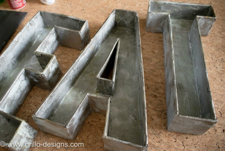 COMPLETED DIY FAUX METAL LETTERS / WWW.GRILLO-DESIGNS.COM