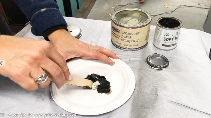 Mix soft wax with dark wax to age furniture/ Grillo Designs www.grillo-designs.com