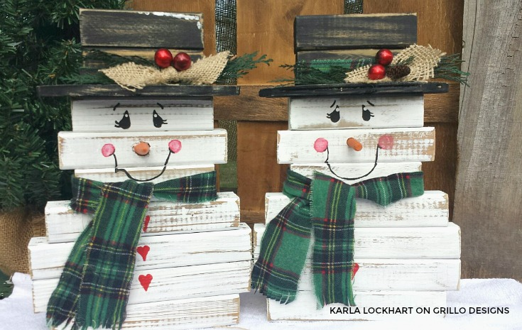 Make a cute wooden snowman using wood spindles / Grillo Designs Blog www.grillo-designs.com