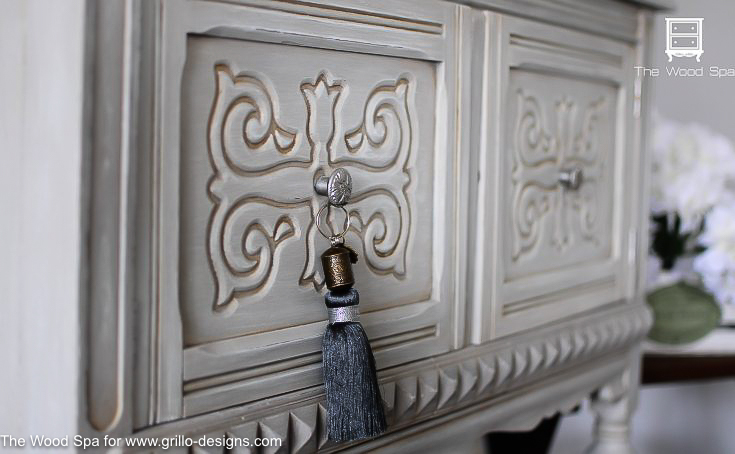 how dark wax looks on carved furniture details / Grillo Designs  www.grillo-designs - How To Use Dark Wax To Antique Furniture • Grillo Designs