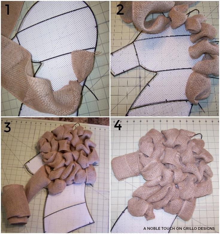 attaching burlap to horse head wreath / Grillo Designs www.grillo-designs.com