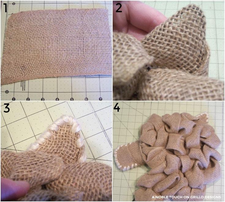 using burlap to make a horse head wreath / Grillo Designs www.grillo-designs.com