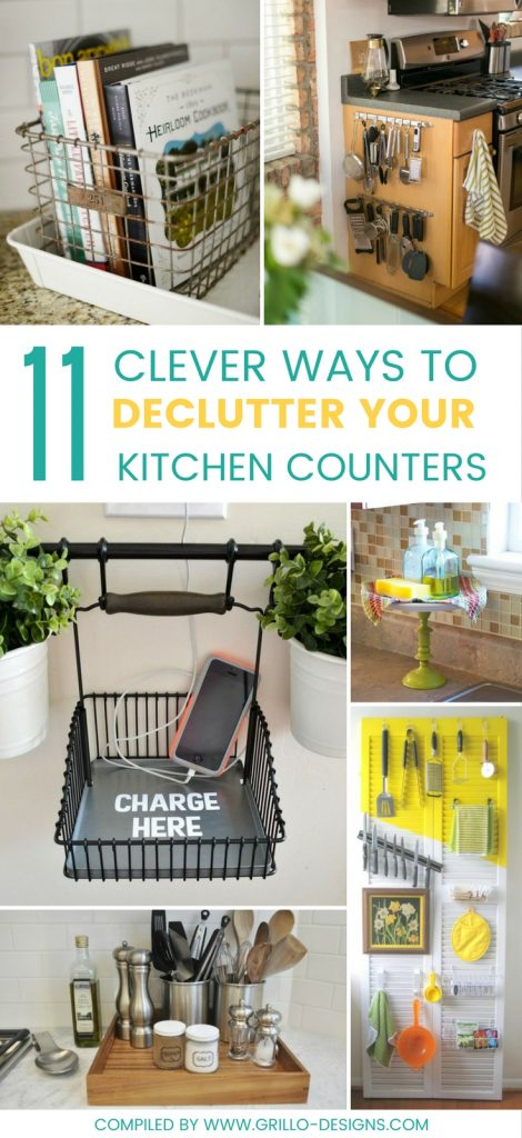 11 genius ways to declutter kitchen counters for pinterest / Grillo Designs www.grillo-designs
