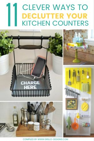 DIY KITCHEN ORGANIZATION TIPS - DECLUTTERING COUNTERS IDEAS / GRILLO DESIGNS WWW.GRILLO-DESIGNS.COM