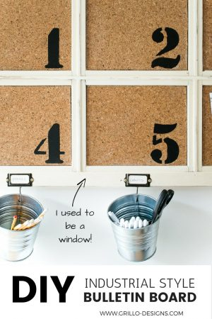 UPCYCLED WINDOW INTO BULLETIN BOARD / GRILLO DESIGNS