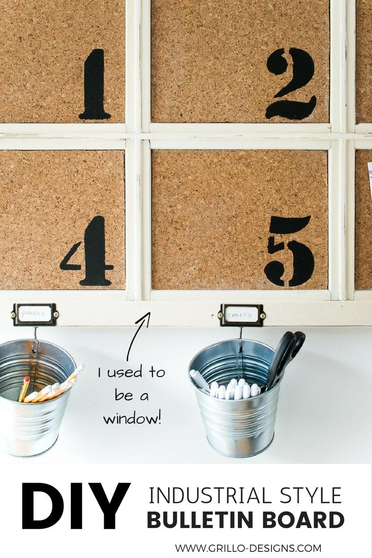 Industrial style diy bulletin board made from a repurposed window / Grillo Designs www.grillo-designs.com