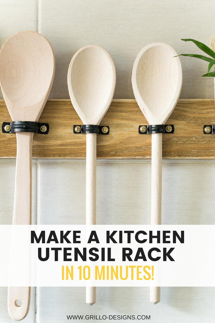 Make a diy utensil hanging rack in 10 mins grillo designs for Kitchen design utensils