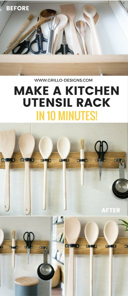 Create a diy utensil rack using plumbing clips / grillo designs www.grillo-designs.com