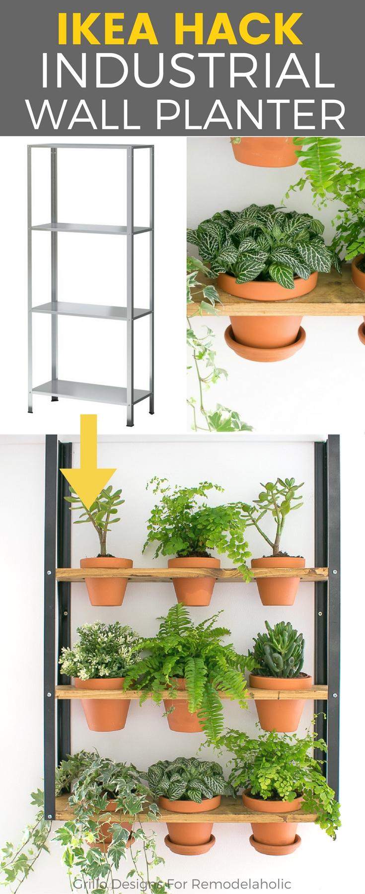 Hyllis ikea hack industrial wall planter grillo designs for Ikea garden shelf