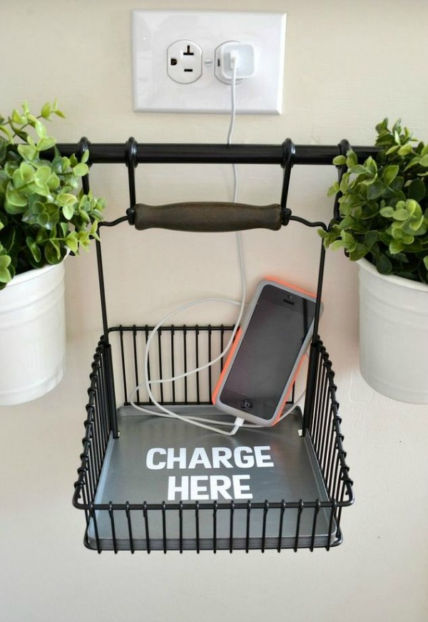 declutter kitchen counters by creating a hanging charging station via hometalk / Grillo Designs www.grillo-designs.com