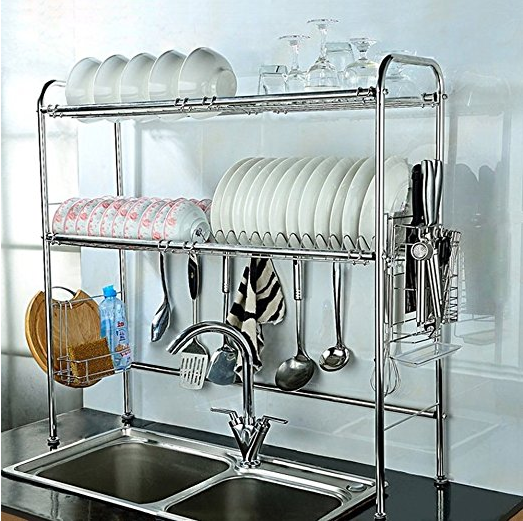 oVER SINK DISH RACK TO DECLUTTER KITCHEN COUNTERS AROUND THE SINK VIA AMAZON / WWW.GRILLO-DESIGNS.COM