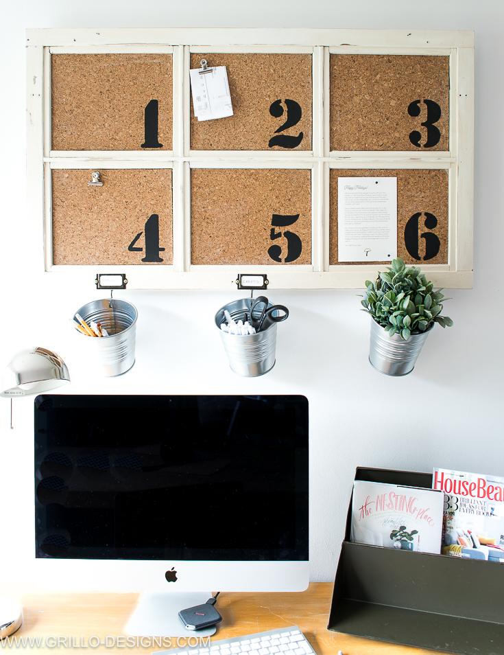 diy bulletin board over desk space / Grillo Designs www.grillo-designs.com