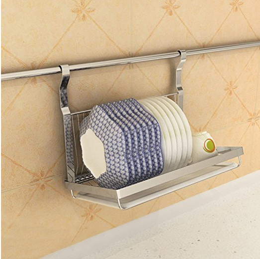 hanging dish rack to declutter kitchen counters via amazon / grillo designs www.grillo-designs.com