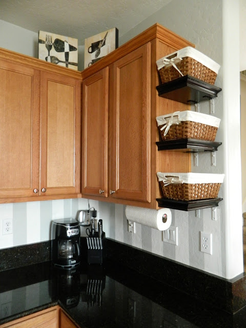 add mini shelves to the side of cabinets to declutter kitchen counters via my perfect nest / grillo designs www.grillo-designs.com