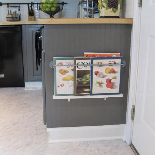space saving magazine rack to declutter kitchen counters via white tulip designs / grillo designs www.grillo-designs.com