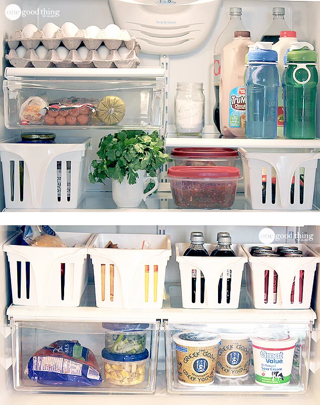 use baskets or fridge storage bins are very important in fridge orgnanization / grillo designs www.grillo-designs.com