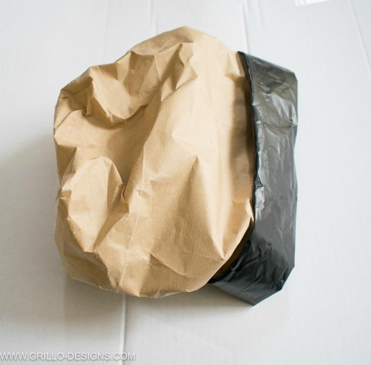 scrunch your paper planter bag into a ball for texture / grillo designs www.grillo-designs.com