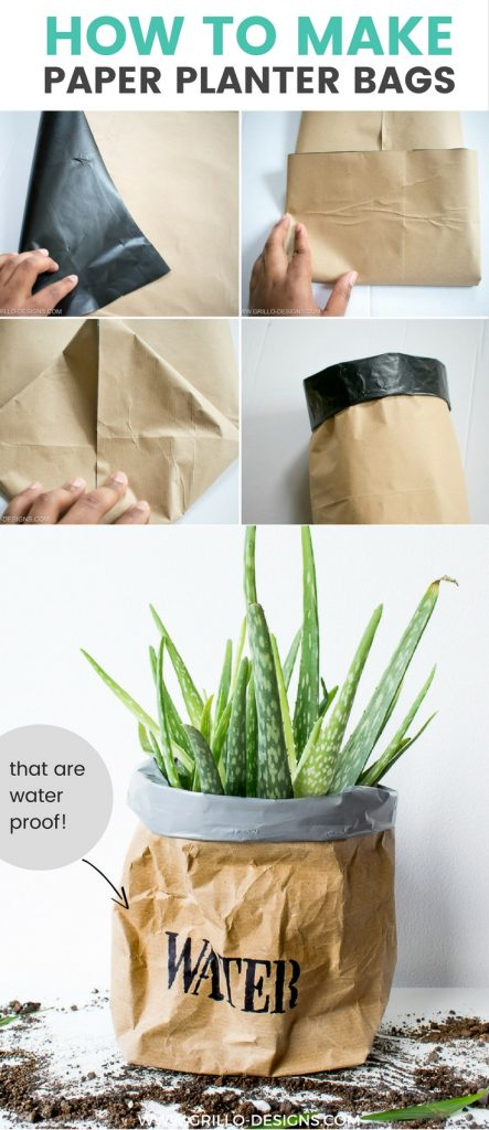 Step by step tutorial on how to make a paper planter bag / grillo designs www.grillo-designs.com