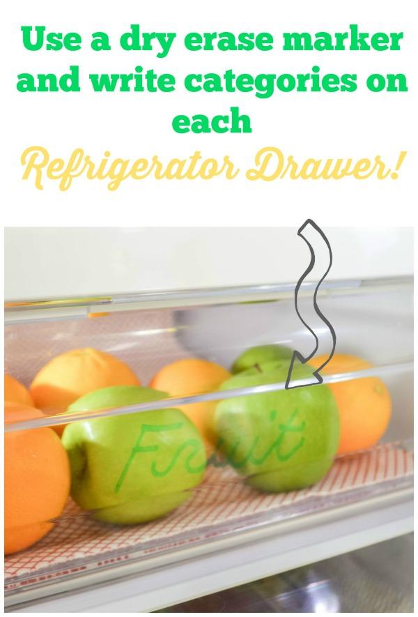 dry eraser used to label fridge items for the easy fridge organization ideas / grillo designs www.grillo-designs.com