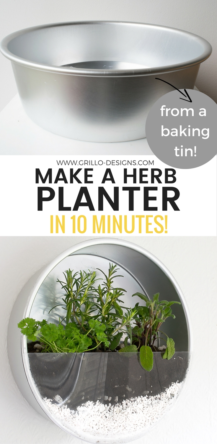 how to make a herb planter from baking tins / grillo designs www.grillo-designs.com