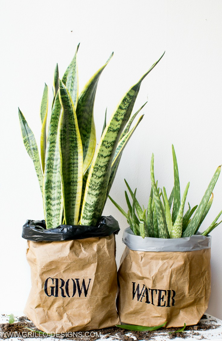 A pair of planter bags made from packing/kraft paper / grillo designs www.grillo-designs.com
