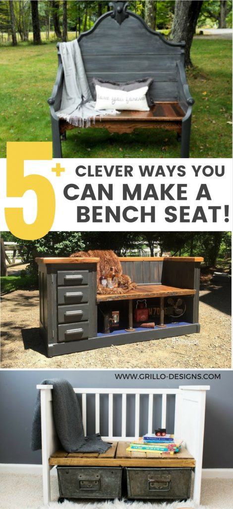 Various Repurposed furniture you can use to make an upcycled bench / grillo designs www.grillo-designs