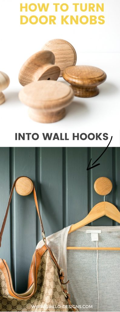 DIY WALL HOOKS - Learn an easy way you can turn wooden cabinet door knobs into stylish modern wall hooks for your coats and accessories! / GRILLO DESIGNS WWW.GRILLO-DESIGNS.COM