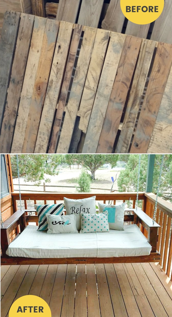 Repurposed pallets become an upcycled bench that swings /grillo designs www.grillo-designs.com