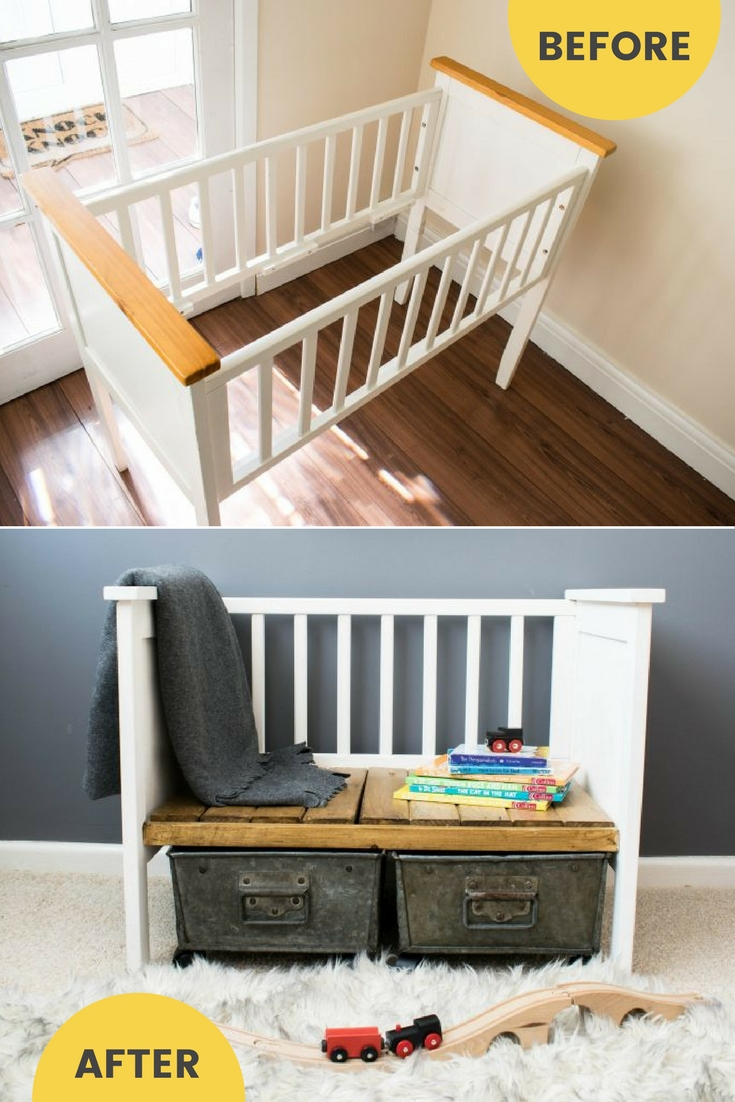 Repurposed crib to upcycled bench / grillo designs www.grillo-designs.com