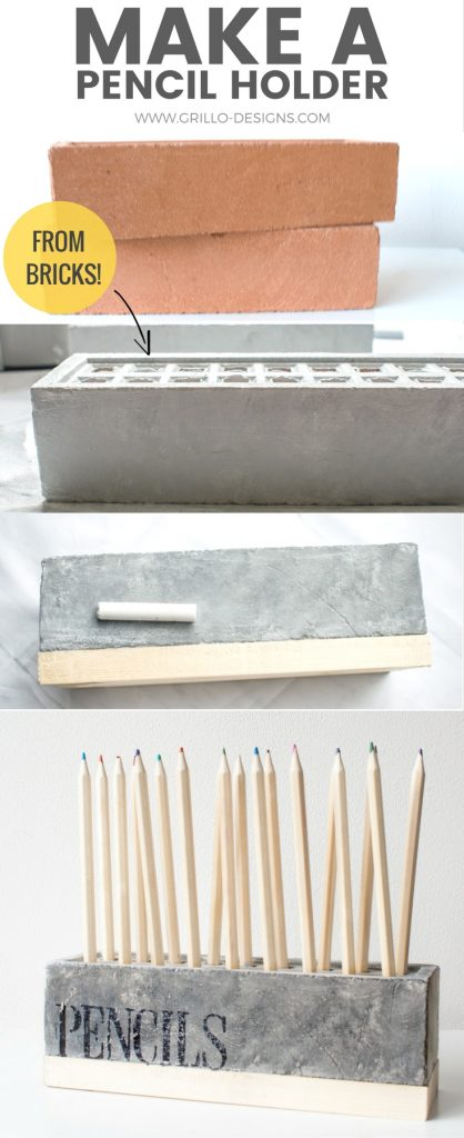 Learn how to make a diy pencil holder from a brick / grillo designs www.grillo-designs.com