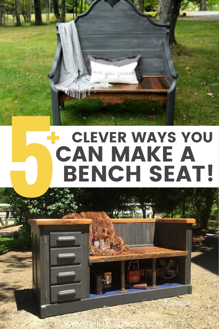 Creative ways to make an upcycled bench from repurposed furniture / grillo designs www.grillo-designs.com