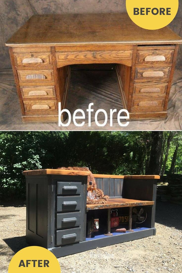 Repurposed desk to upcycled bench idea / grillo designs www.grillo-designs.com