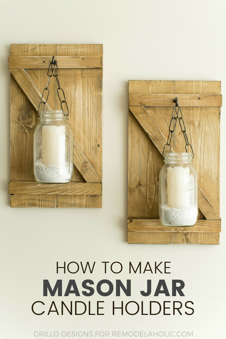 An easy tutorial on how to make rustic style hanging mason jar candle holders / grillo designs www.grillo-designs.com
