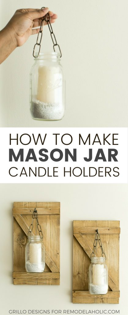 These rustic hanging mason jar candle holders are a charming way to brighten a dreary corner or fill an awkward space on a wall in your home / Grillo Designs www.grillo-designs.com