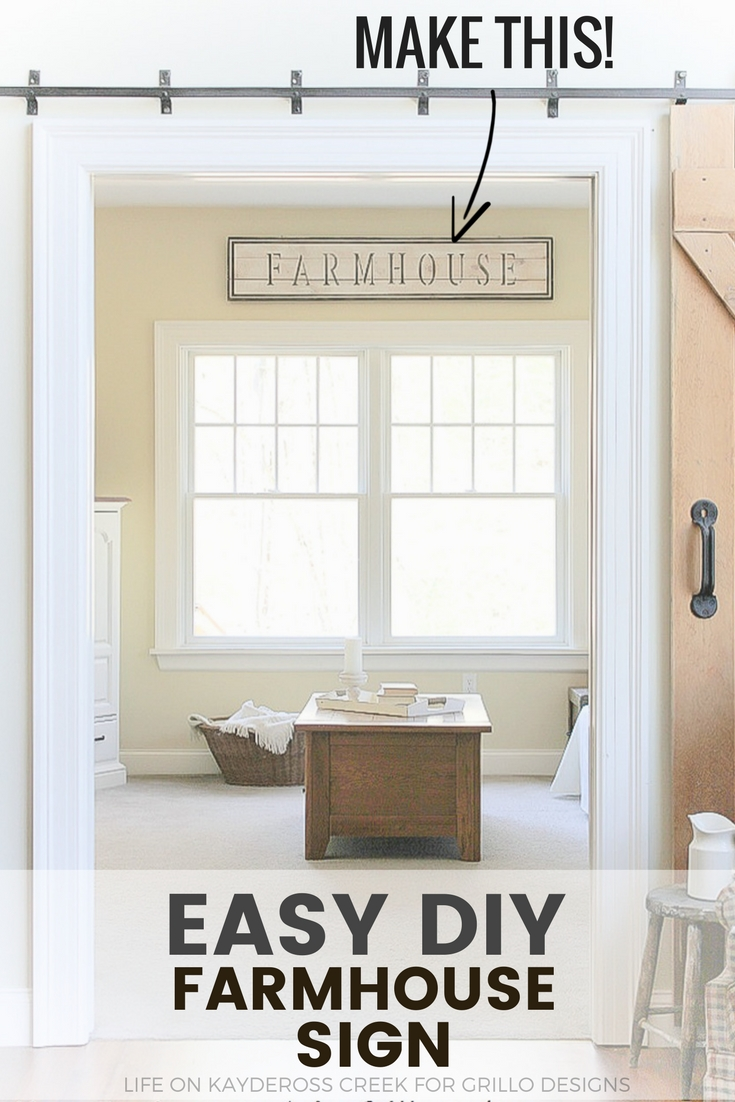 How to make a DIY farmhouse sign that adds character to your home using simple craft paint and stencils. Create unique farmhouse décor for your home - Life on Kaydeross creek for Grillo Designs
