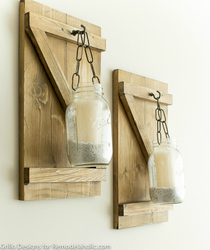 Side view of hanging mason jar candle holders on the wall / grillo designs www.grillo-designs.com