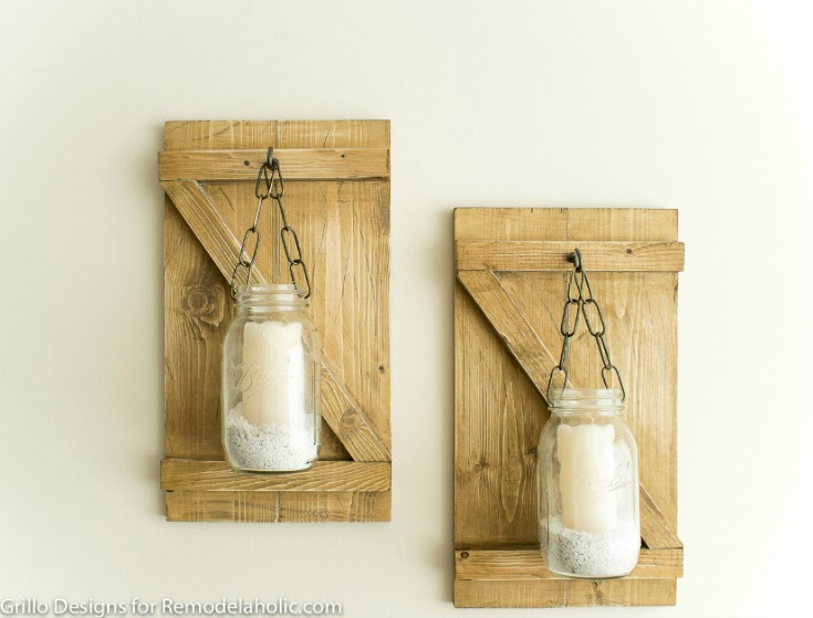 Farmhouse rustic style hanging mason jar candle holders or wall scones / grillo designs www.grillo-designs.com