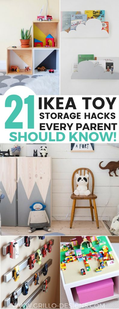 Sharing 21 awesome IKEA storage hacks for all your kids toys. These IKEA toy storage hacks will help you to get organised on a minimum budget. / Grillo Designs www.grillo-designs.com